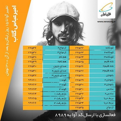Pishvaz Hamrahe Aval Amir Abbas Golab کد پیشواز آهنگ های امیر عباس گلاب در همراه اول